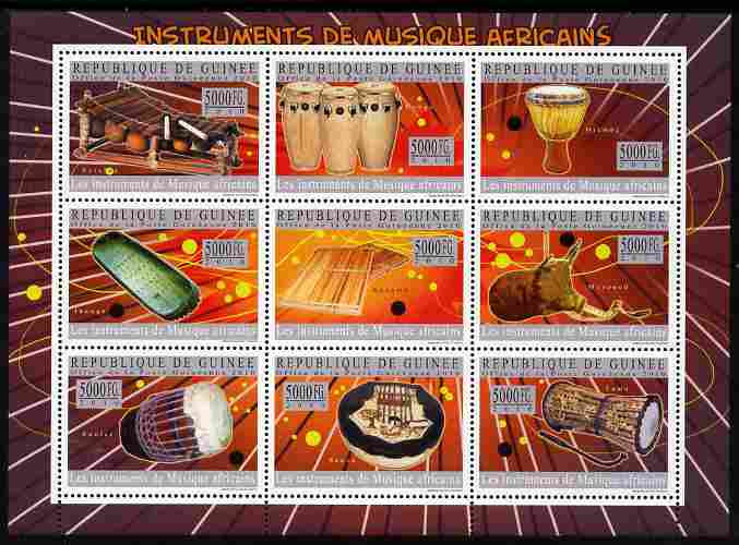 Guinea - Conakry 2010 Musical Instruments of Africa perf sheetlet containing 9 values unmounted mint