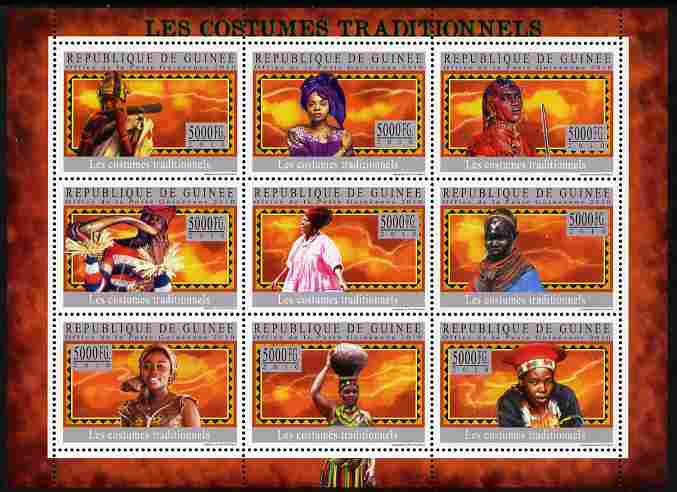Guinea - Conakry 2010 Traditional Costumes perf sheetlet containing 9 values unmounted mint