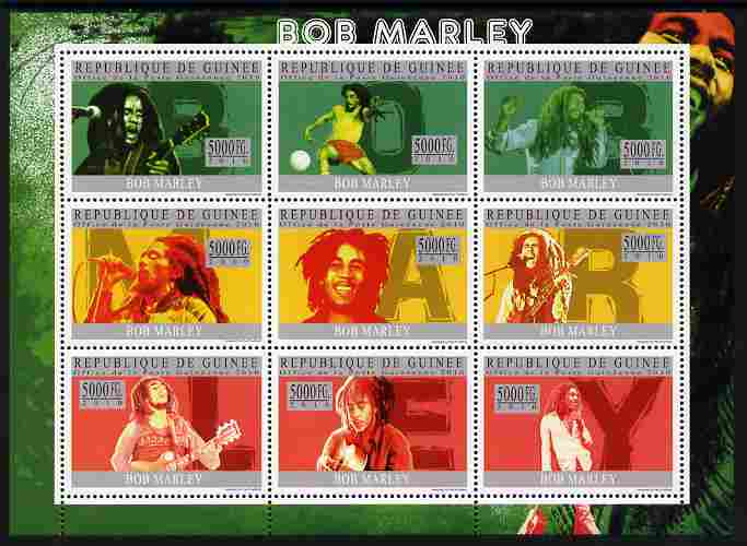Guinea - Conakry 2010 Bob Marley perf sheetlet containing 9 values unmounted mint