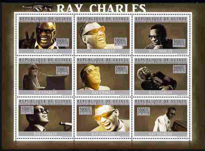 Guinea - Conakry 2010 Ray Charles perf sheetlet containing 9 values unmounted mint