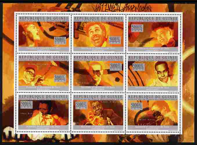Guinea - Conakry 2010 Jazz Personalities perf sheetlet containing 9 values unmounted mint