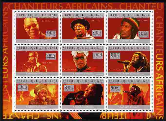 Guinea - Conakry 2010 African Singers perf sheetlet containing 9 values unmounted mint