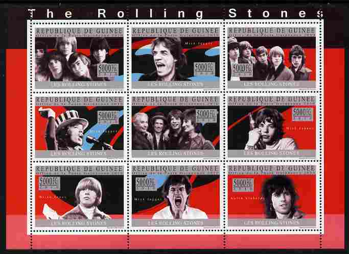 Guinea - Conakry 2010 The Rolling Stones perf sheetlet containing 9 values unmounted mint