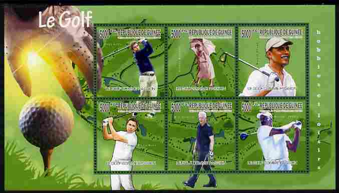Guinea - Conakry 2010 Passion for Golf perf sheetlet containing 6 values unmounted mint