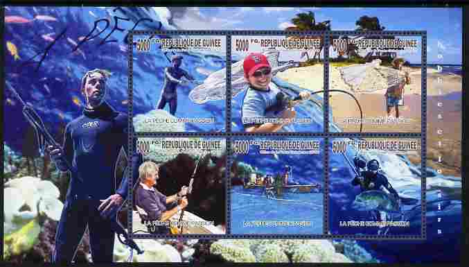 Guinea - Conakry 2010 Fishing perf sheetlet containing 6 values unmounted mint