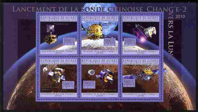 Guinea - Conakry 2010 Launch of Chang E-2 Probe perf sheetlet containing 6 values unmounted mint