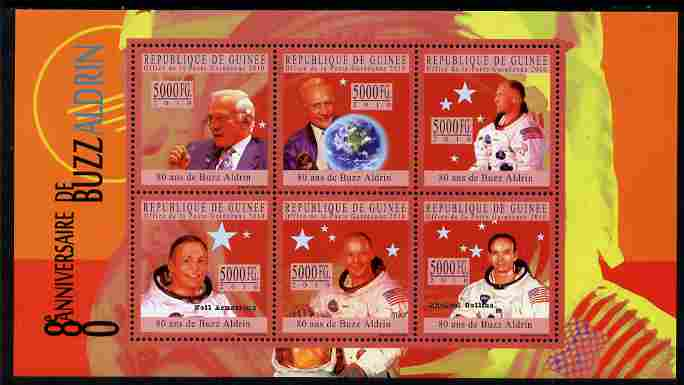 Guinea - Conakry 2010 80th Birthday of Buzz Aldrin #2 perf sheetlet containing 6 values unmounted mint