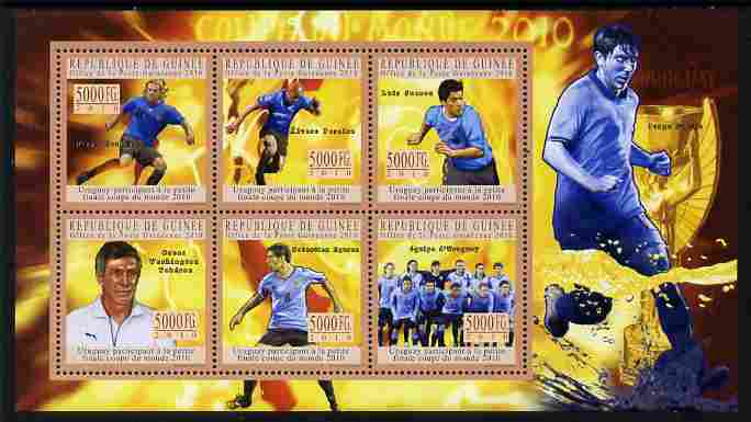 Guinea - Conakry 2010 Football World Cup - Uruguay perf sheetlet containing 6 values unmounted mint