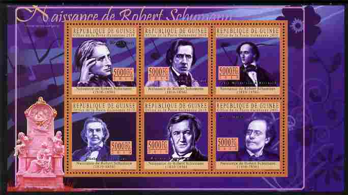 Guinea - Conakry 2010 200th Birth Anniversary of Robert Schumann perf sheetlet containing 6 values unmounted mint
