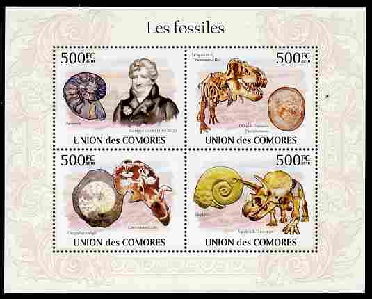 Comoro Islands 2010 Fossils perf sheetlet containing 4 values unmounted mint