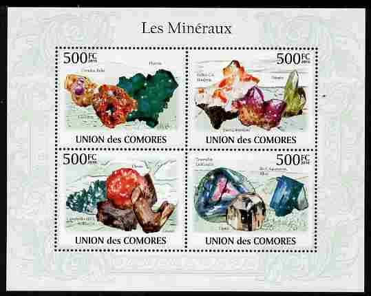 Comoro Islands 2010 Minerals perf sheetlet containing 4 values unmounted mint