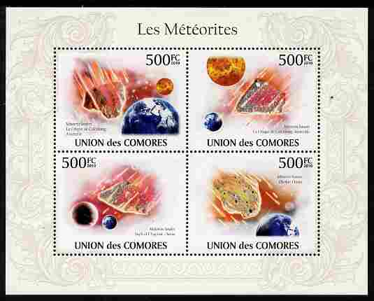 Comoro Islands 2010 Meteorites perf sheetlet containing 4 values unmounted mint