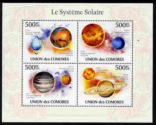 Comoro Islands 2010 The Solar System perf sheetlet containing 4 values unmounted mint