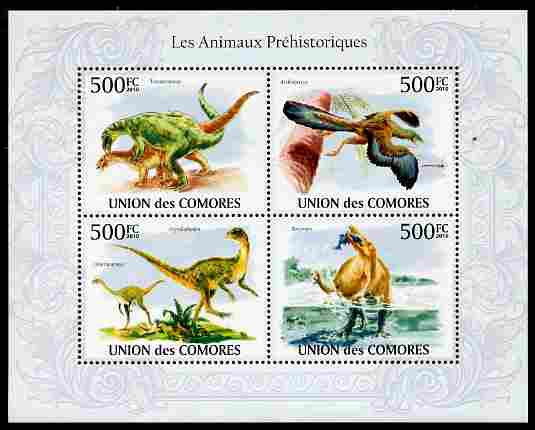 Comoro Islands 2010 Prehistoric Animals perf sheetlet containing 4 values unmounted mint, stamps on dinosaurs, stamps on