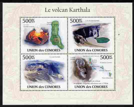 Comoro Islands 2010 Karthala Volcano perf sheetlet containing 4 values unmounted mint