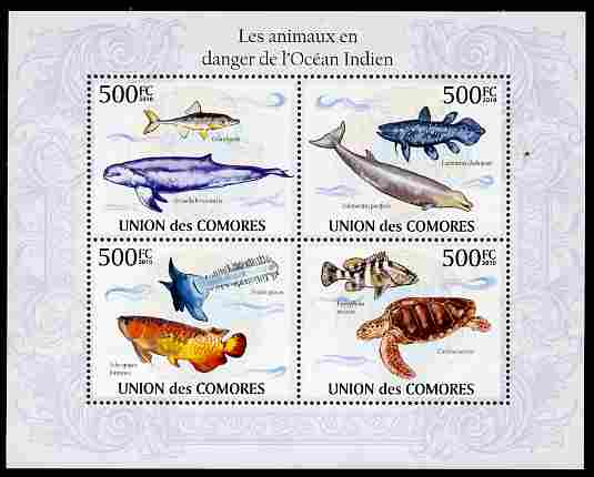 Comoro Islands 2010 Endangered Animals of the Indian Ocean perf sheetlet containing 4 values unmounted mint