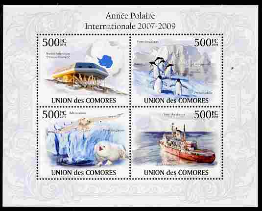 Comoro Islands 2010 International Polar Year perf sheetlet containing 4 values unmounted mint