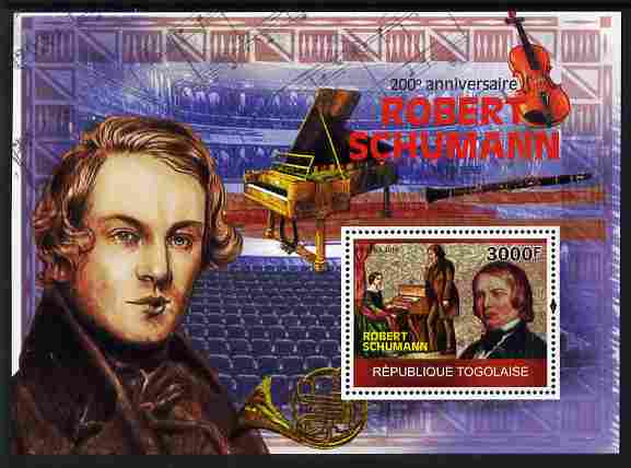 Togo 2010 200th Birth Anniversary of Robert Schumann perf m/sheet unmounted mint