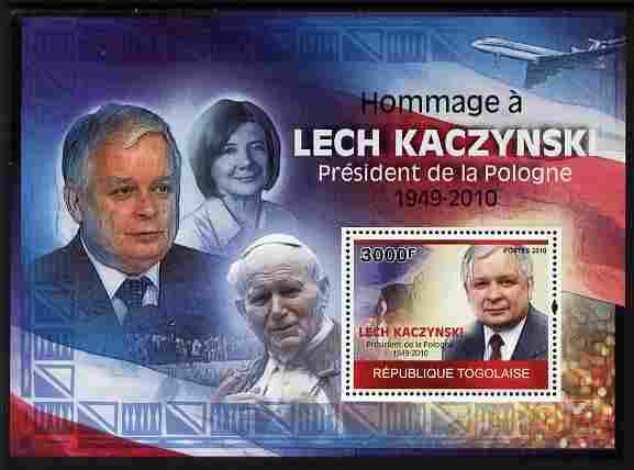 Togo 2010 Tribute to Lech Kaczynski (president of Poland) perf m/sheet unmounted mint