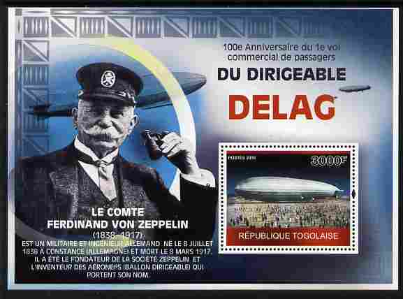 Togo 2010 Centenary of First Commercial Flight of Airship Delag perf m/sheet unmounted mint