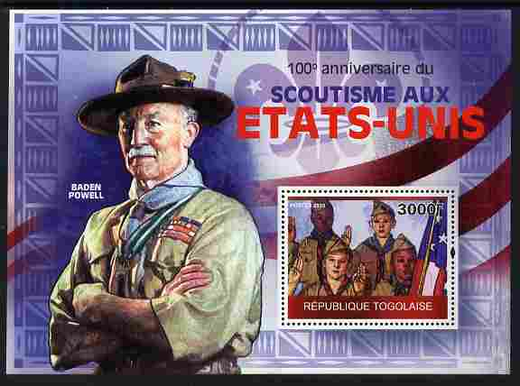 Togo 2010 Centenary of Scouting in United States perf m/sheet unmounted mint