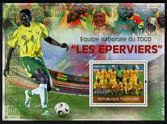 Togo 2010 National Football Team - The Hawks perf m/sheet unmounted mint