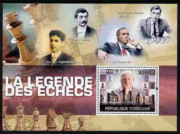 Togo 2010 Legends of Chess perf m/sheet unmounted mint