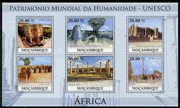 Mozambique 2010 UNESCO World Heritage Sites - Africa #1 perf sheetlet containing 6 values unmounted mint