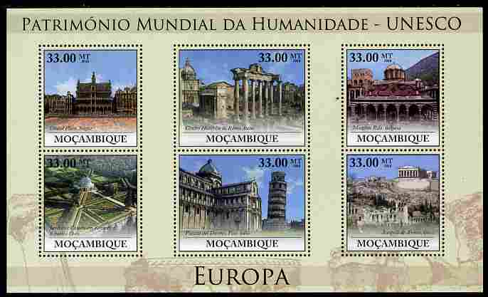 Mozambique 2010 UNESCO World Heritage Sites - Europe #1 perf sheetlet containing 6 values unmounted mint