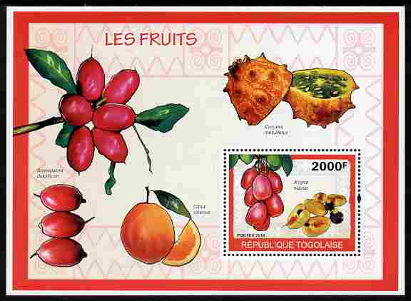 Togo 2010 Fruits perf m/sheet unmounted mint