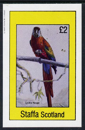 Staffa 1982 Birds #15 (Macaw) imperf deluxe sheet (�2 value) unmounted mint