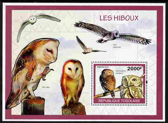 Togo 2010 Birds - Owls perf m/sheet unmounted mint