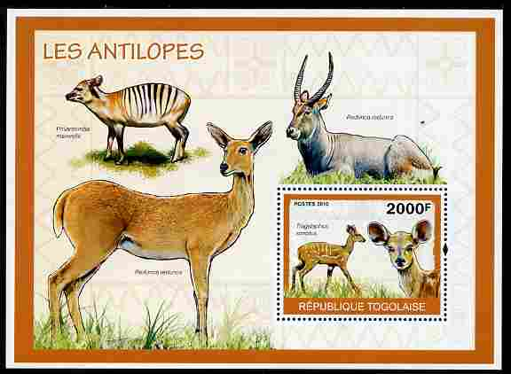 Togo 2010 Antelopes perf m/sheet unmounted mint