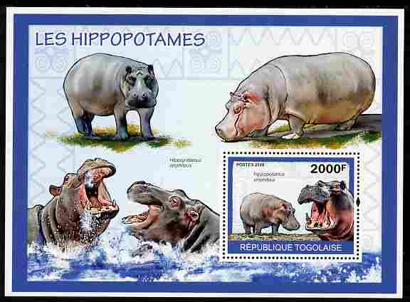 Togo 2010 Hippos perf m/sheet unmounted mint