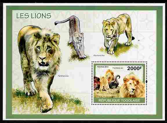 Togo 2010 Lions perf m/sheet unmounted mint