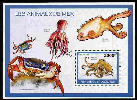 Togo 2010 Sea Life perf m/sheet unmounted mint