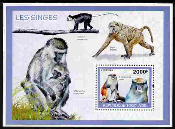 Togo 2010 Monkeys perf m/sheet unmounted mint