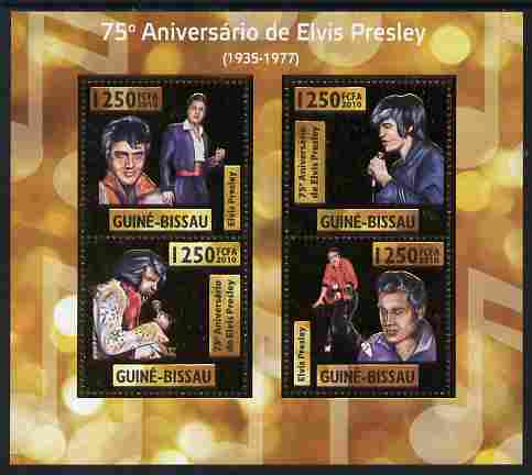 Guinea - Bissau 2010 75th Birth Anniversary of Elvis Presley perf sheetlet containing 4 values (gold background) unmounted mint
