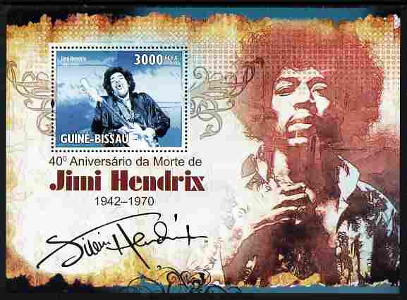 Guinea - Bissau 2010 40th Death Anniversary of Jimi Hendrix perf m/sheet unmounted mint