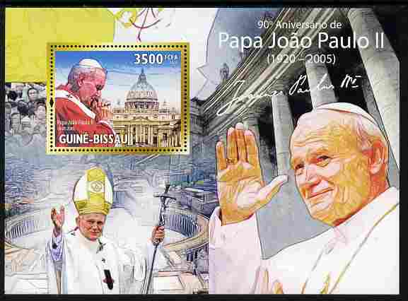Guinea - Bissau 2010 90th Birth Anniversary of Pope John Paul II perf m/sheet unmounted mint