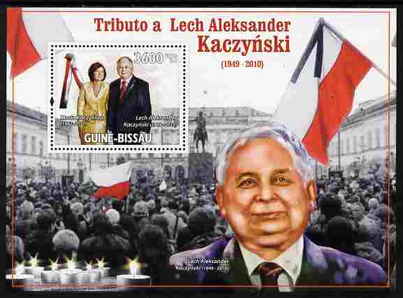 Guinea - Bissau 2010 Tribute to Lech Kaczynski (president of Poland) perf m/sheet unmounted mint