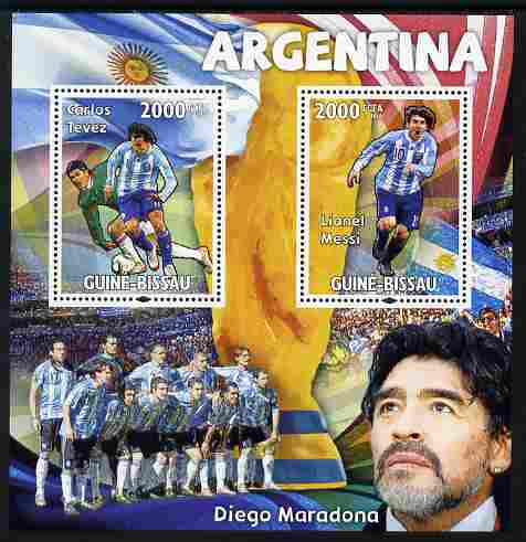 Guinea - Bissau 2010 Footbal World Cup - Argentine perf sheetlet containing 2 values unmounted mint