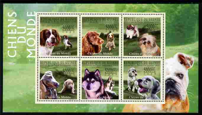 Guinea - Conakry 2009 Dogs of the World #2 perf sheetlet containing 6 values unmounted mint