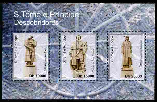 St Thomas & Prince Islands 2010 Statues of Discoverers perf sheetlet containing 6 values unmounted mint