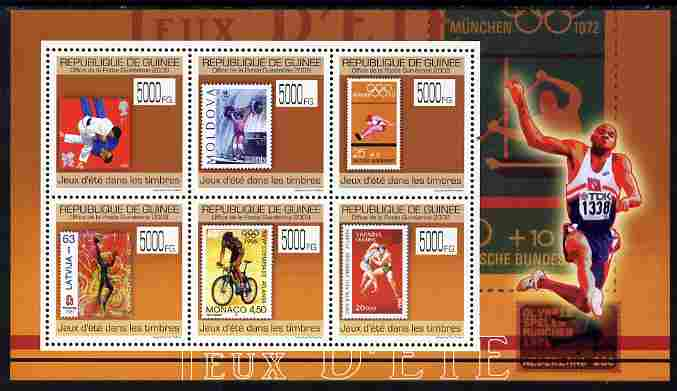 Guinea - Conakry 2009 Stamp on Stamp - Summer Olympics perf sheetlet containing 6 values unmounted mint Michel 7093-98