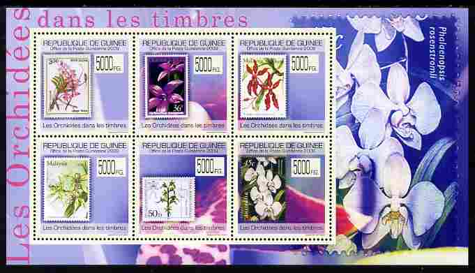 Guinea - Conakry 2009 Stamp on Stamp - Orchids perf sheetlet containing 6 values unmounted mint Michel 7030-35
