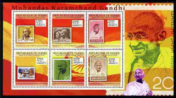 Guinea - Conakry 2009 Stamp on Stamp - Gandhi perf sheetlet containing 6 values unmounted mint