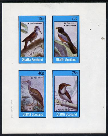 Staffa 1982 Birds #18 (Woodpecker, Kingfisher, etc) imperf  set of 4 values (10p to 75p) unmounted mint