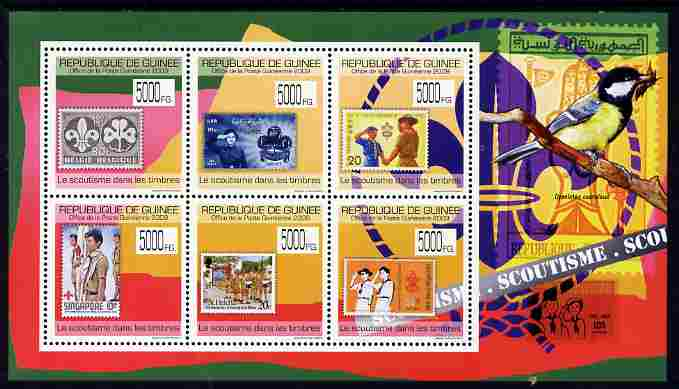 Guinea - Conakry 2009 Stamp on Stamp - Scouts perf sheetlet containing 6 values unmounted mint