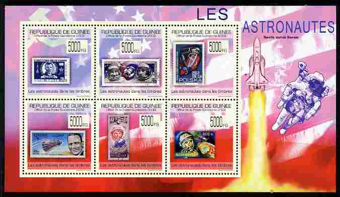 Guinea - Conakry 2009 Stamp on Stamp - Astronauts perf sheetlet containing 6 values unmounted mint